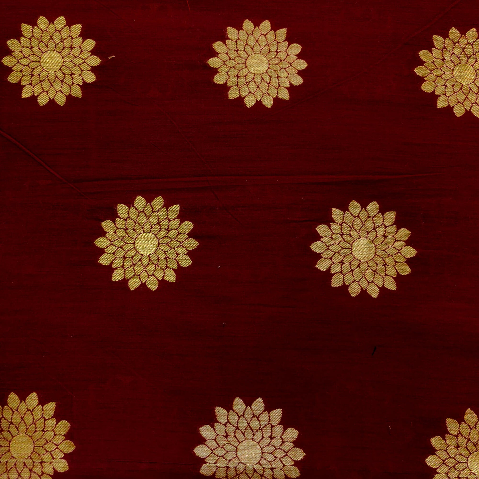 Cotton Silk Maroon With Beige Chakra Brocade Motif Woven Fabric