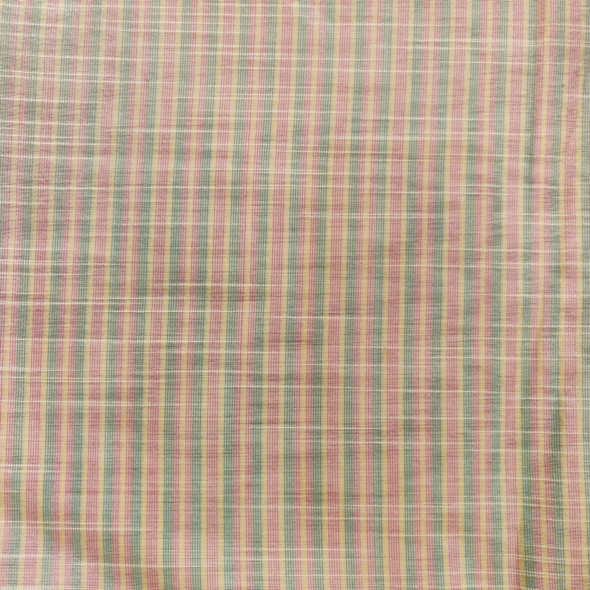Cotton Silk Off White With Green And Light Pink Tiny Stripes Woven Fabric