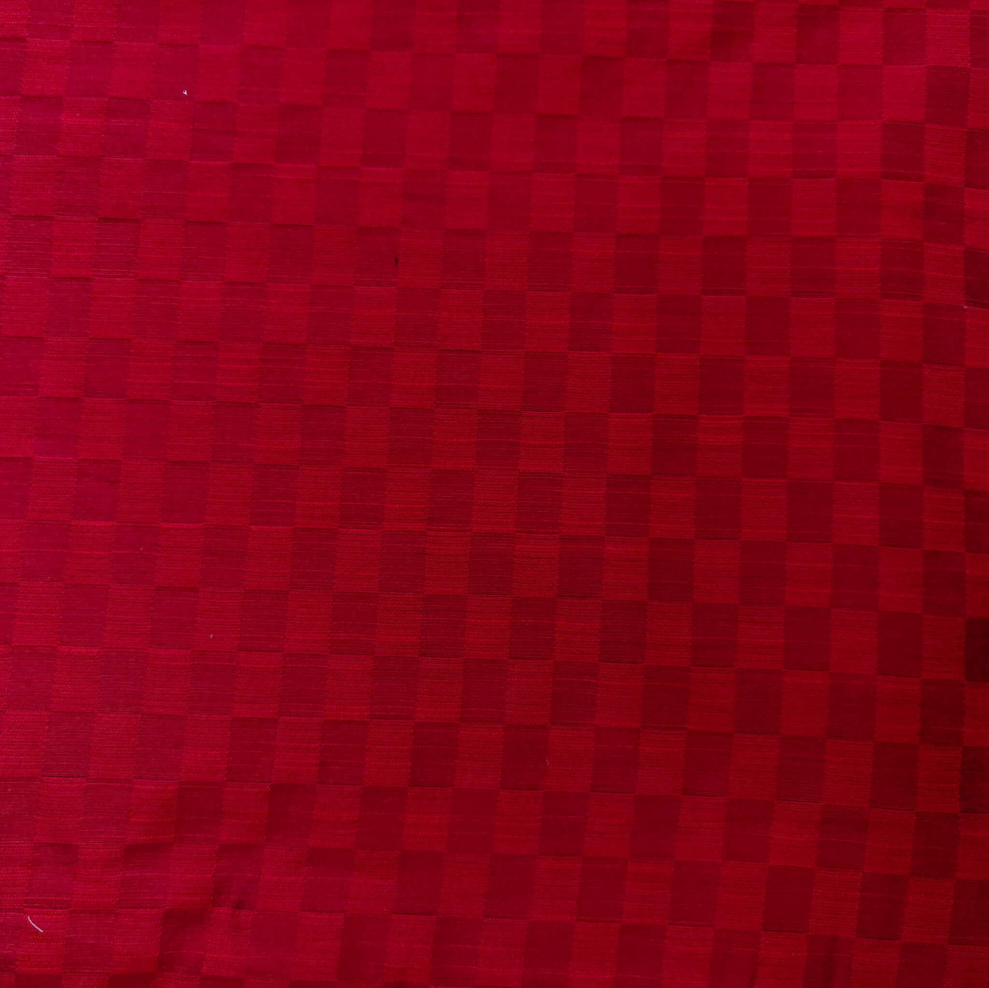 Cotton Silk Red With Interlocked Checks Fabric