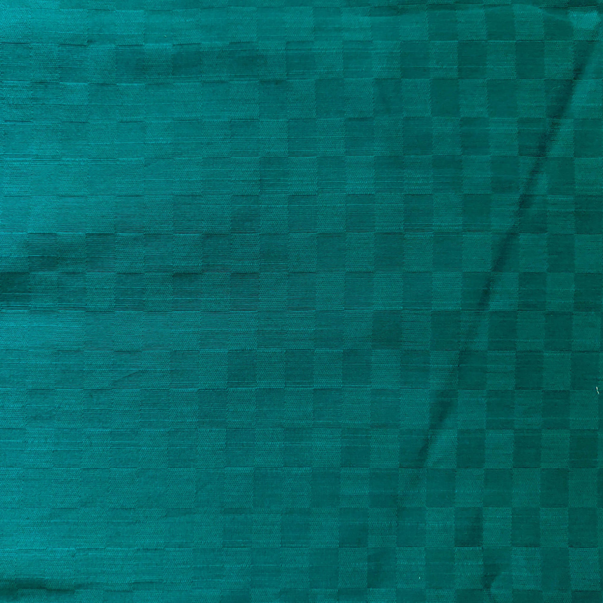 Cotton Silk Teal Interlocked Checks Fabric