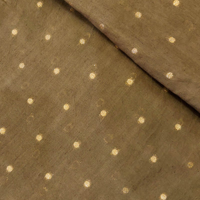 Cotton Silk Yellowish Brown  With Gold Butti Hand Woven Fabric