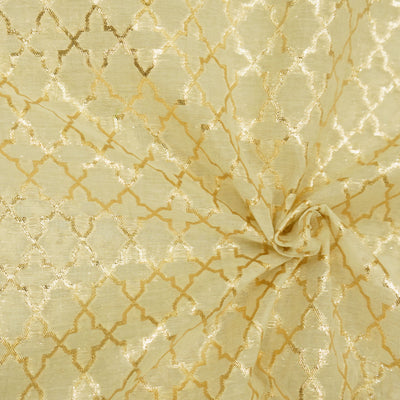 Cream Foil Brocade Ajrak Tiles Woven Fabric