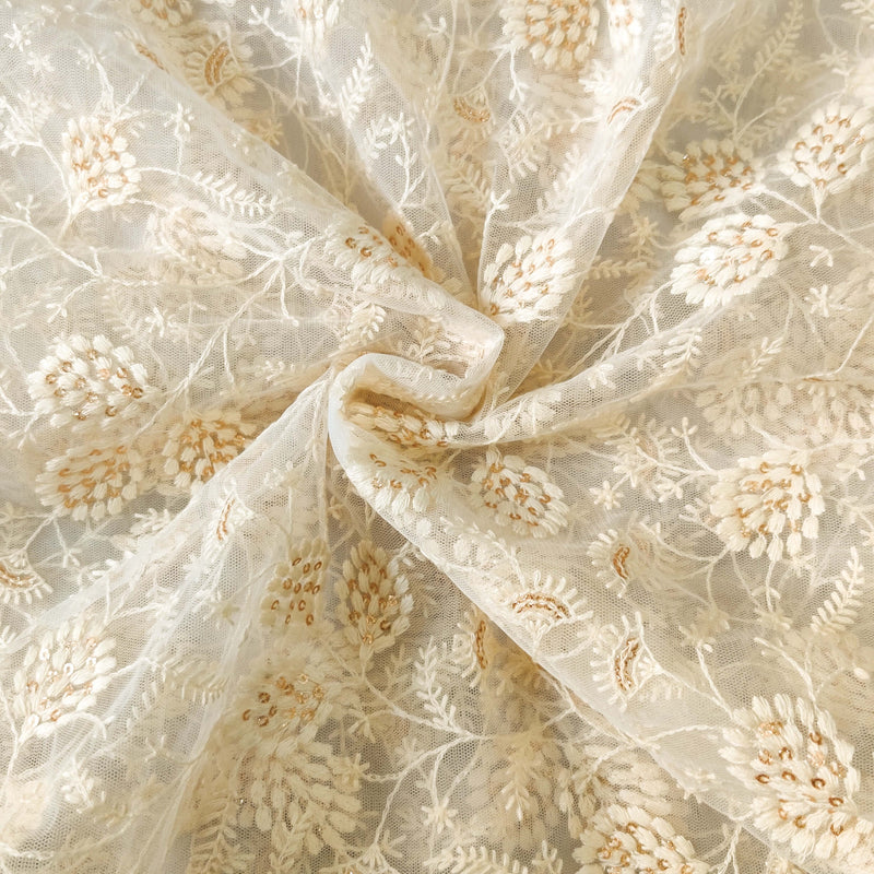 Cream Net With Beautiful Self Embroidered Jaal