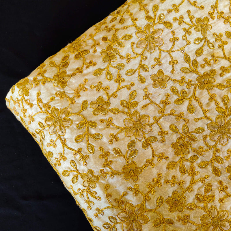 Cream Cotton Silk Fabric WIth Gold Heavy Embroidered Jaal