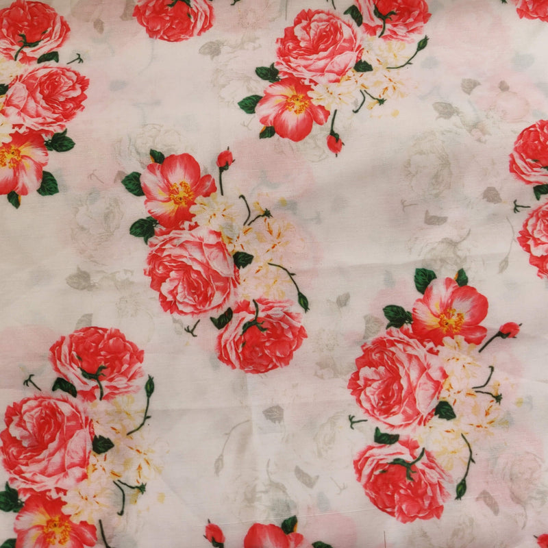 Cream Fabric With Digital Rose Flower Modal Satin Flowy Fabric