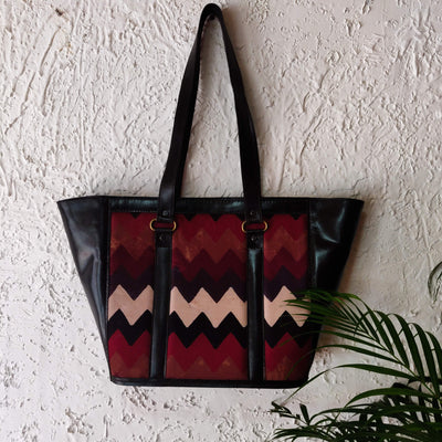 Dabu Jahota Cotton Fabric Tote Black Leather Bag With A Zip
