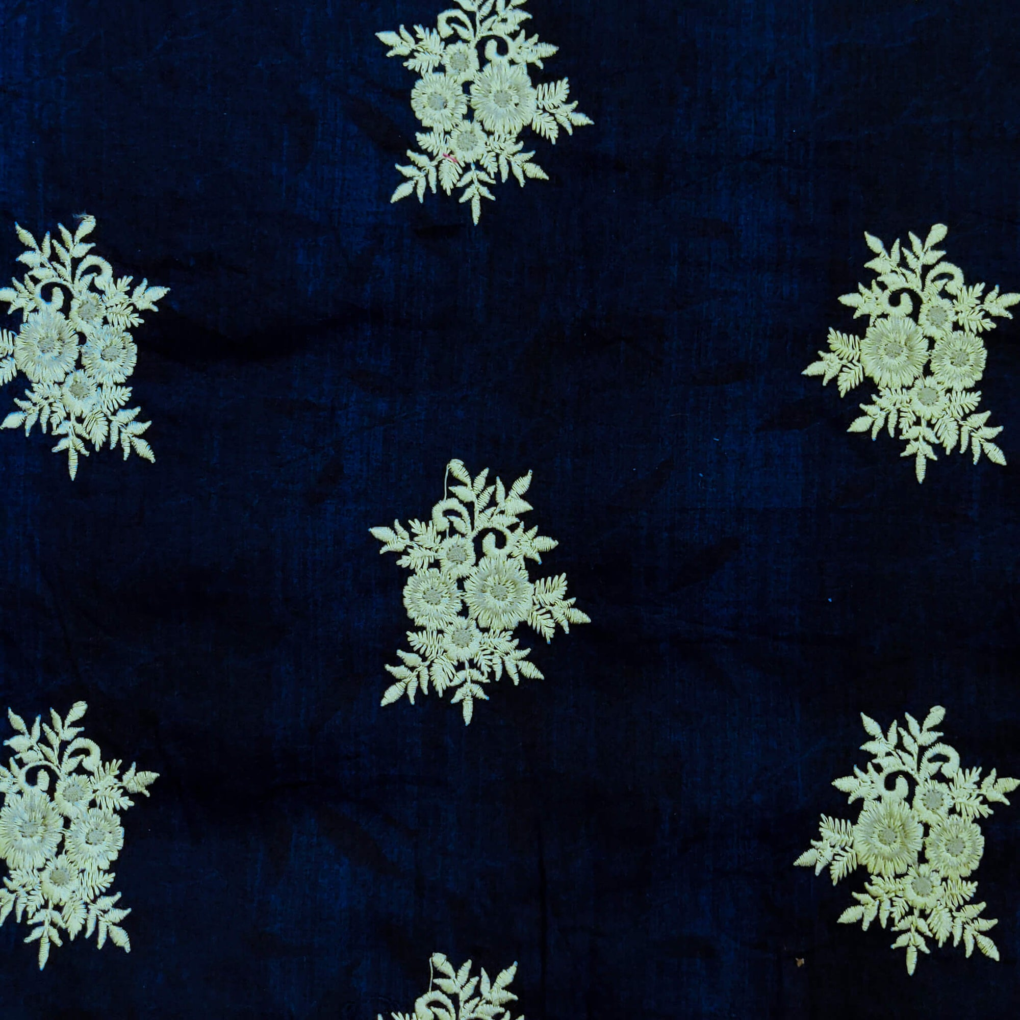 Glazed Cotton Blue With Light Grey Floral Embroidered Motifs