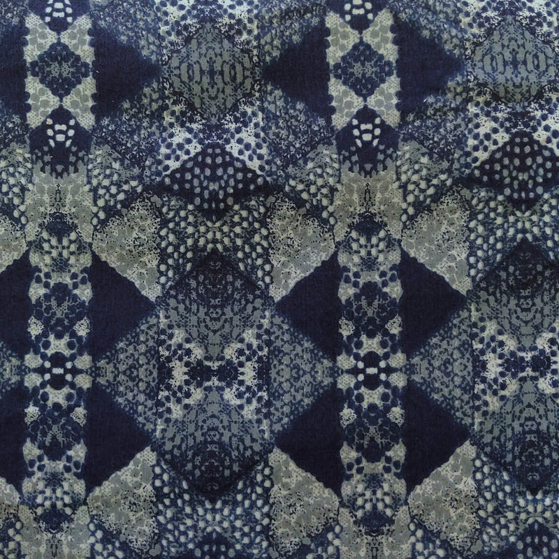 Glazed Cotton Denim With Blue Abstrct Pattern Screen Print Fabric