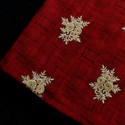 Glazed Cotton Maroon With Beige Floral Embroidered Motifs