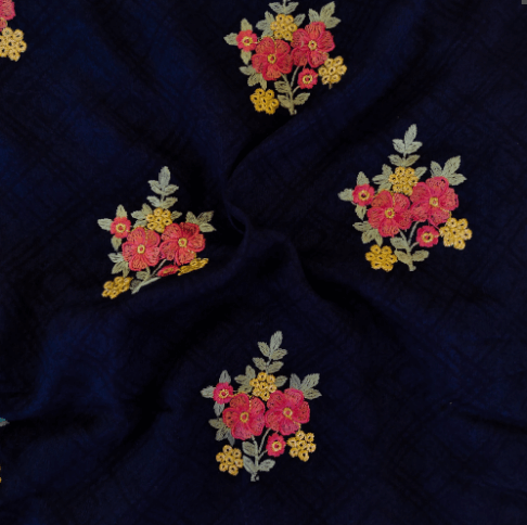Glazed Cotton Navy Blue With Self Design And Flower Embroidered Motifs Blouse Fabric (1 Meter)