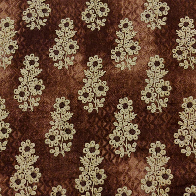 Glazed Cotton Shaded Brown With Embroidered Beige Flowers Fabric