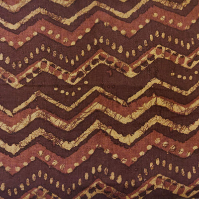 Glazed Cotton With Dark Brown Zigzag Screen Print Fabric