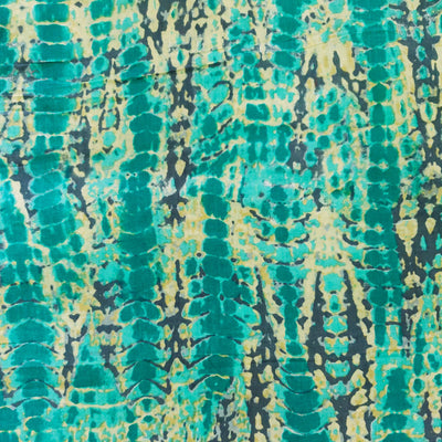 Glazed Cotton  With Grey Light Blue And Yellow Abstract Pattern Screen Print Fabric