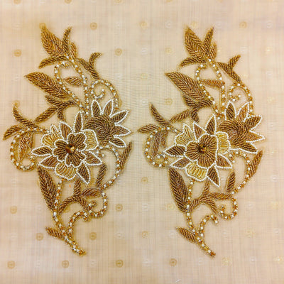 Gold Zardozi Flower And Leaves Patch