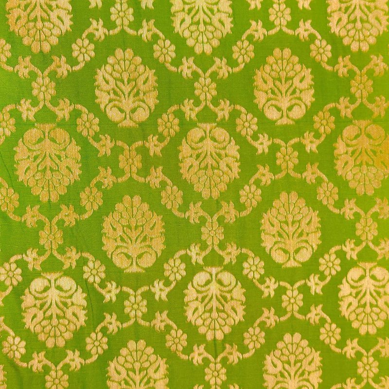 Green Brocade With Diagonal Gold Woven Checks With Intermediate Gold Motif Hand Woven Fabric