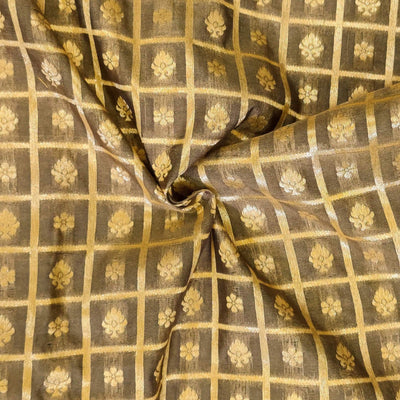 Grey Brown Brocade With Gold Woven Checks With Tiny Motifs Hand Woven Fabric