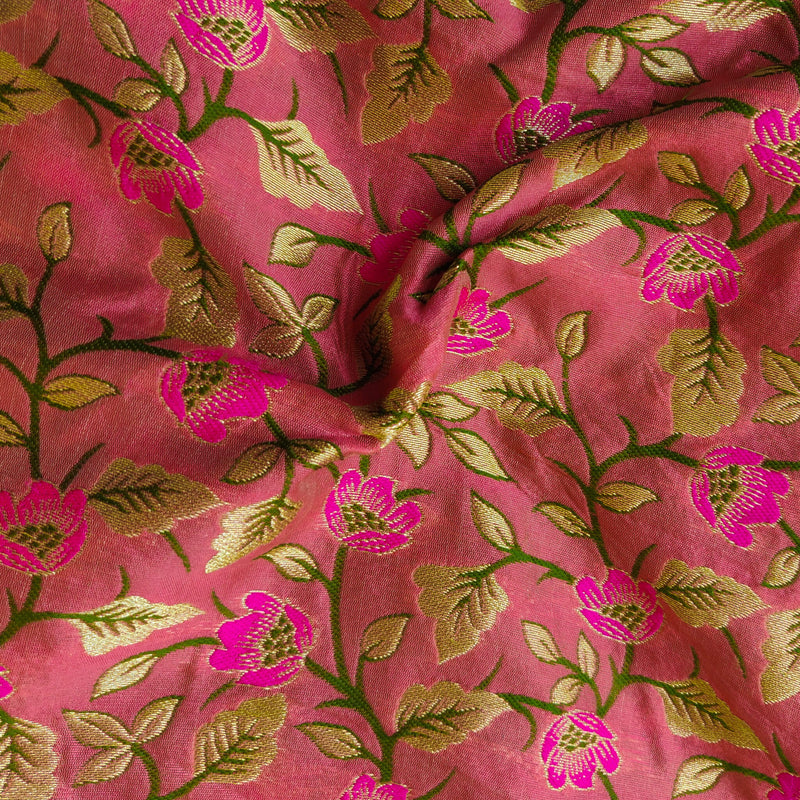 Heavy Banarasi Pink Fabric With Floral Jaal Hand Weaved Fabric