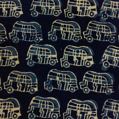 Indigo Pure Cotton Auto Rickshaw Hand Block Print Fabric