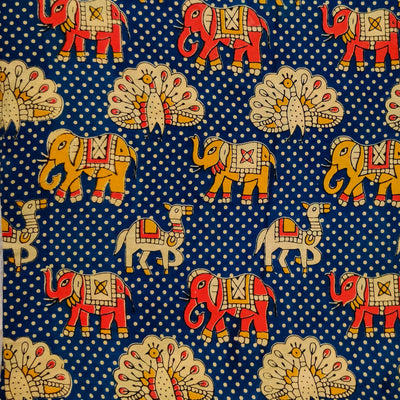 Kalamkari Silk Blue With Peacock Camel Elephant Print Fabric