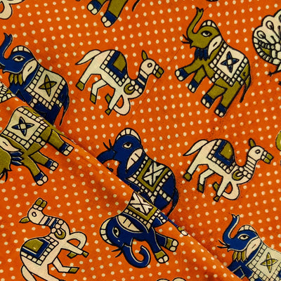 Kalamkari Silk Orange With Peacock Camel Elephant Print Fabric