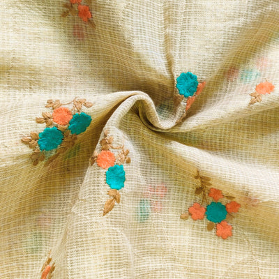 Kota Silk Light Gold With Blue And Peach Tiny Bunch Of Flowers Embroidered Fabric