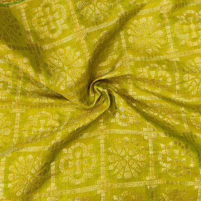 Light Green Brocade With Gold Checks And Flower Motifs Handwoven Fabric