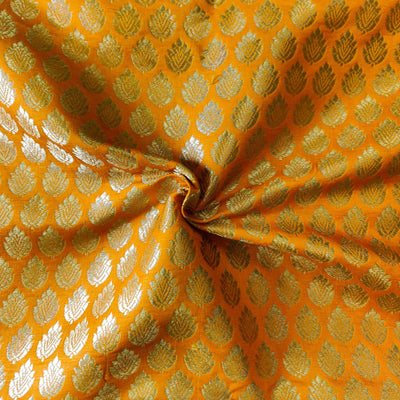 Light Orange Banarasi Brocade With Gold Leaf Butti Handwoven Fabric