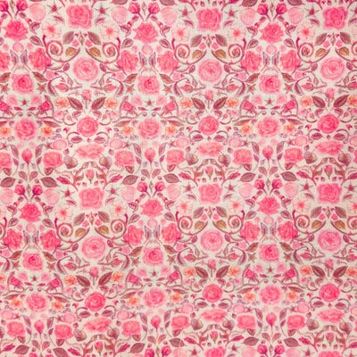 Linen Soft Pink With Simple Pink Roses Jaal Screen Print Fabric