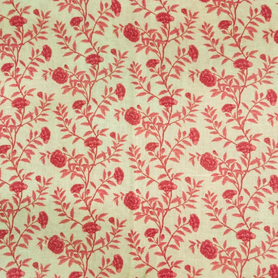 Linen With Peachy Pink Jaal Screen Print Fabric