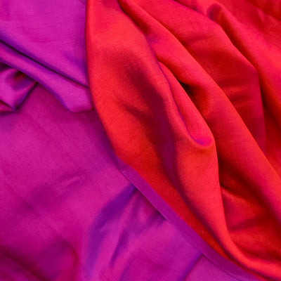 Mango Silk Purple And Maroon Reversible Flowing Fabric