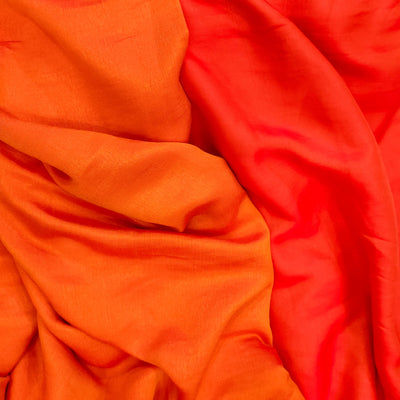 Mango Silk Shades Of Orange Reversible Flowing Fabric