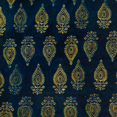 Modal Cotton Ajrak Blue With Green And Cream Spade Motif Hand Block Print Fabric