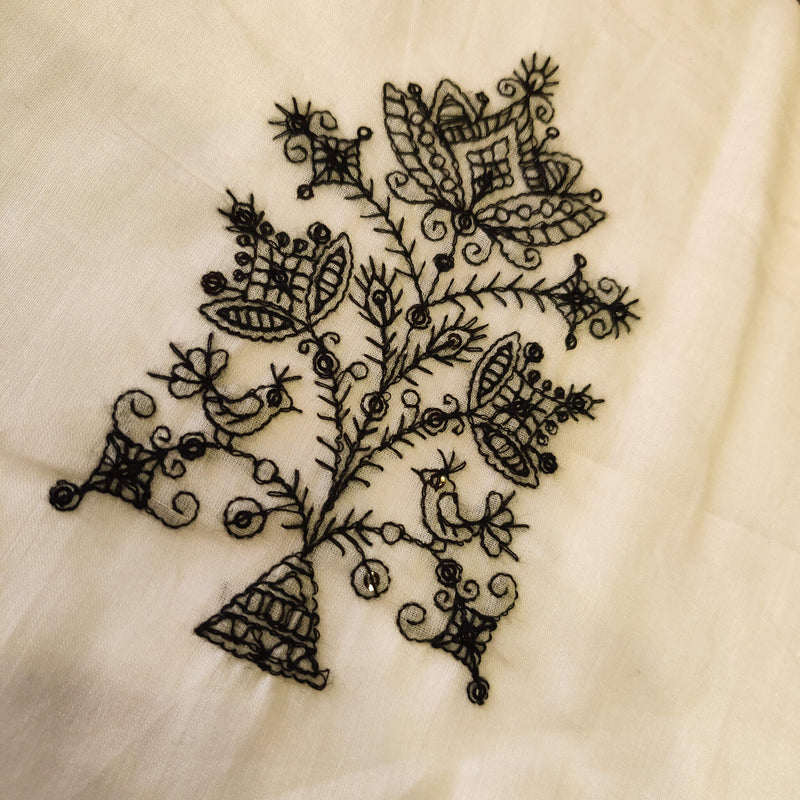 Mul Cotton Off White With Black Bird On A Tree Embroidered Fabric