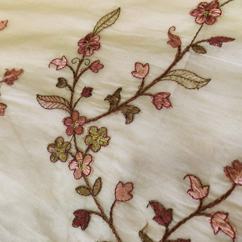 Mul Cotton Off White With Burgundy Shaded Tiny Flowers Jaal Embroidered Fabric