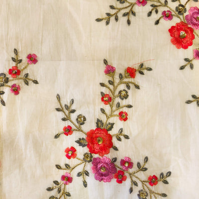 Mul Cotton Off White With Pink And Purple Flower Jaal Embroidered Fabric