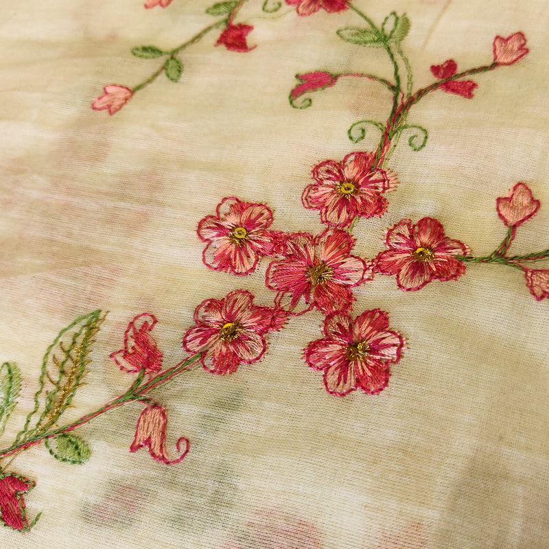 Mul Cotton Off White With Pink Shaded Tiny Flowers Jaal Embroidered Fabric
