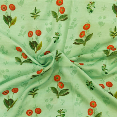 Muslin Pastel Green With Red Poppy Plant Motif Screen Print Fabric