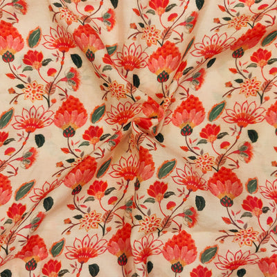 Muslin Pastel Peach With Pink Flower Jaal Screen Print Fabric