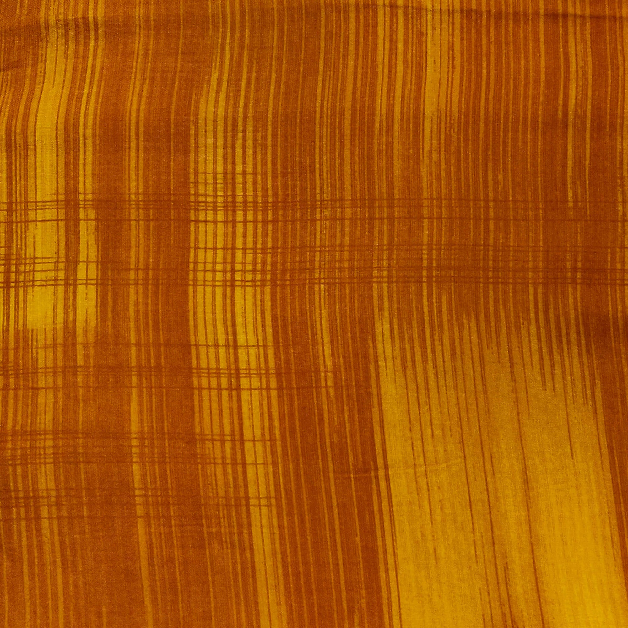Mustard Rayon Fabric With Brown Textured Scren Print Fabric