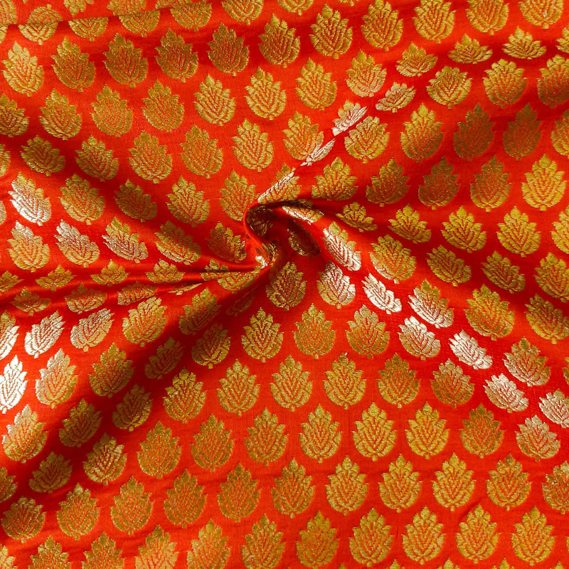 Orange Banarasi Brocade With Gold Leaf Butti Handwoven Fabric