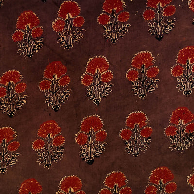 Pure Cotton Ajrak Brown With Maroon Flower Plant Motif Hand Block Print Fabric