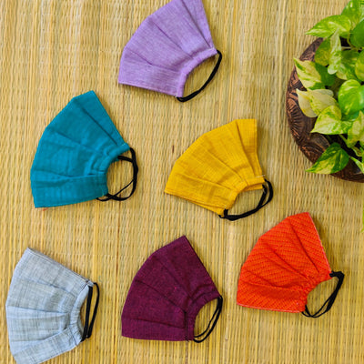 Pack Of 5 Triple Layered Assorted Pure Cotton Pleated Masks With Elastic- Unisex