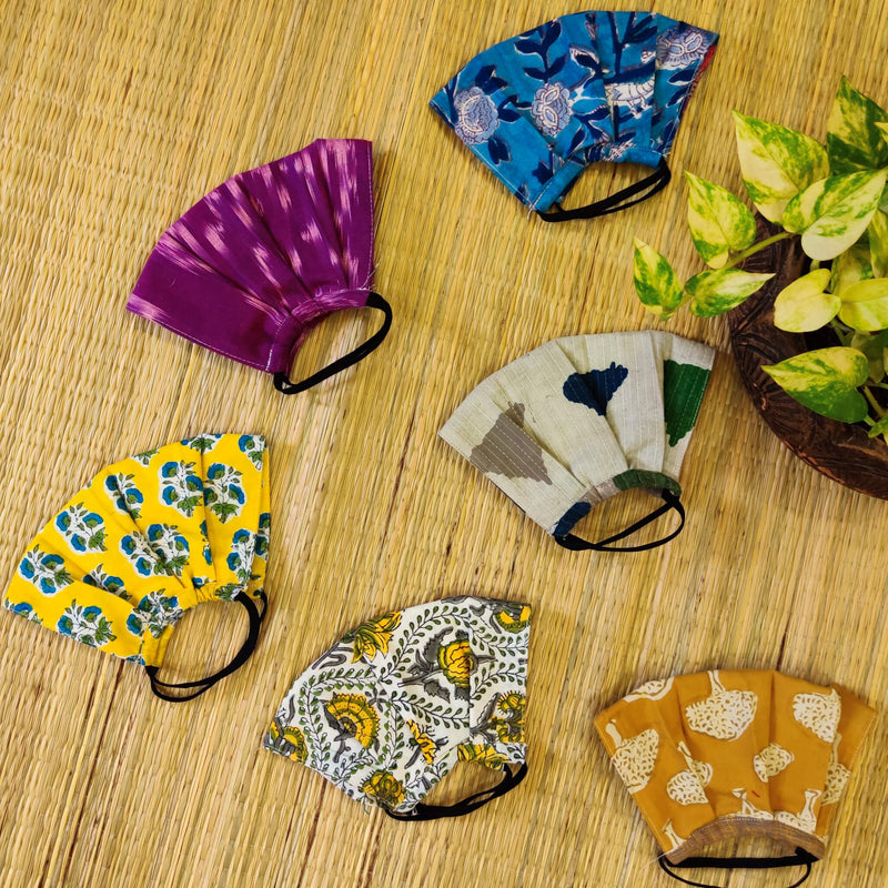 Pack Of 5 Triple Layered Assorted Pure Cotton Pleated Masks With Elastic- Women