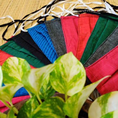 Pack Of 5 Triple  Layered Assorted Solid Colors Cotton Pleated Masks - Unisex