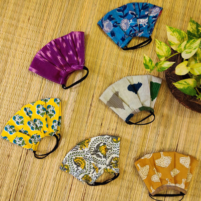 Pack Of 7 Triple Layered Assorted Pure Cotton Pleated Masks With Elastic- Women