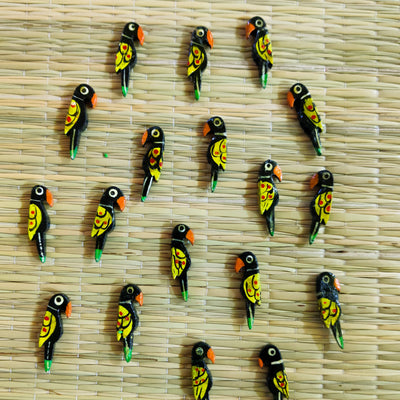 Pack Of Five Black And Yellow Parrot Button