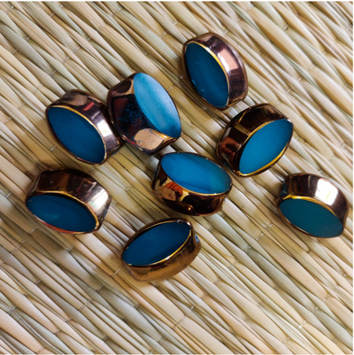 Pack Of Five Blue And Gold Metal Button