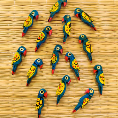 Pack Of Five Blue And Yellow Parrot Button