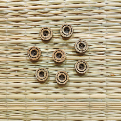 Pack Of Five Carved Circle Wooden Button