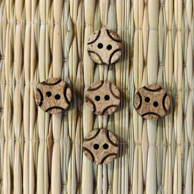 Pack Of Five Carved Wooden Buttons
